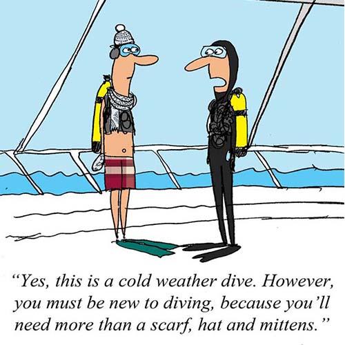Diver in unsuitable equipment