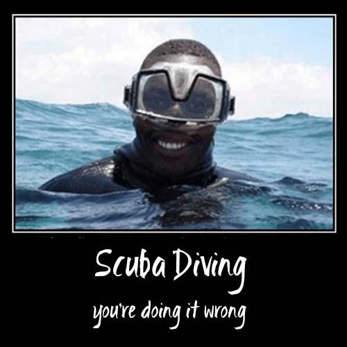 Upside down mask on diver