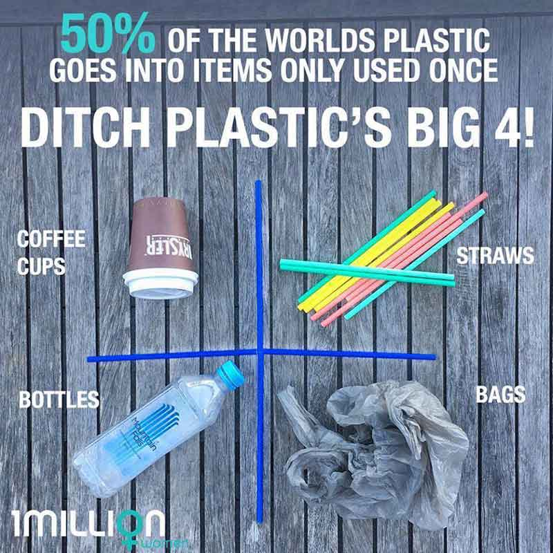 bags, straws, bottles and coffee cups