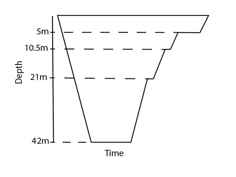 Dive plan for deepstops from 42m