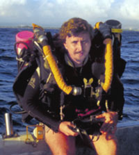 Dr. Pyle in a rebreather
