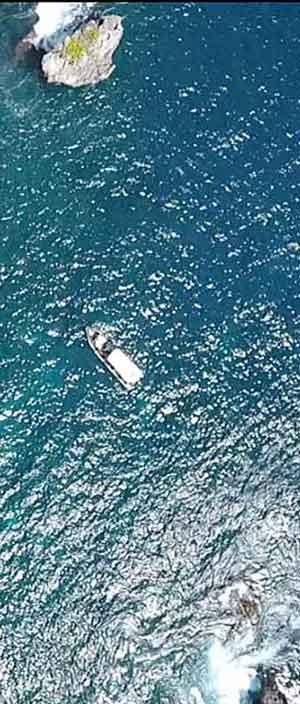 A dive boat drone picture